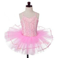 Pink Embroideries Sequins Ballet Tutu Dance Costume Fancy Dress Up Age 3-8y #063