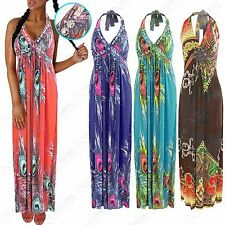 LADIES PEACOCK PRINT BEADED MAXI DRESSES WOMENS HALTERNECK TOP LONG ANIMAL DRESS