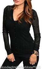 Black Button Front Long Sleeve Open Mesh Crochet Sweater Cardigan Top