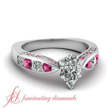 Pink Sapphire Channel Set 1.55 Ct Pear Shaped Diamond 14K Gold Engagement Ring