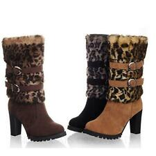 Ladies Pump Sz 34-43 Leopard Mid Calf Heel Boots Shoes AU sz 4 5 6 7 8 9 10