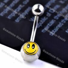 14ga Enamel Smile Face Curved Barbell Bars Belly Navel Ring Ball Stainless Steel