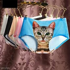 Popular Women Sexy Cute 3D Cat Printing Underwear Comfort Soft Briefs Panty