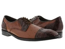 mens cognac rust brown real crocodile ostrich skin exotic dress shoes wing tip