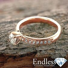 14k Rose Gold Engagement Ring 1.09 CT Real Diamond (VVS, F-G) Size 8 Enhanced