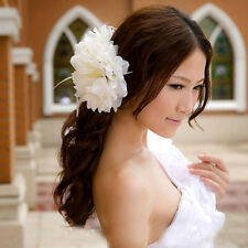 Flower Pattern Feather Brooch Fascinator Corsage For Wedding Ball Head Hair Clip