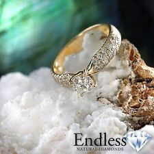 Engagement Ring Size 5 Pave Diamond 1.43 CT VS-SI/G-H 14k Yellow Gold Enhanced