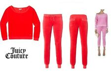 JUICY COUTURE coral VELOUR CREW TOP AND SLIM COMFY PANT Track SET  XL NEW