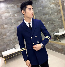 New Men's Premium Double Breasted Cool Slim Fit Long Blazer Casual Jacket Coat