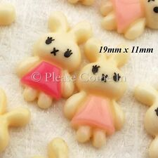 Kawaii Flatback Bunny in Pink Dress Resin Cabochon Decoden Charm