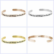 316L Stainless Steel Bible Quote With God All Things Are Possible Cuff Bracelet