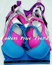 1 Bra or Lot of 6 Sport Bras,95% Cotton Racerback 32B34B36B38B34C38C40C #57716PP
