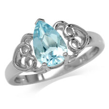 1.54ct. Genuine Blue Topaz 925 Sterling Silver Filigree Heart Ring