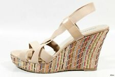 new CHARLES DAVID 'Legit' beige open-toe elastic X-strap wedges shoes - NUDE
