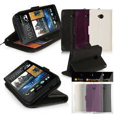 FONEM8 - LEATHER WALLET STAND CASE COVER FOR HTC ONE - WITH CREDIT CARD HOLDERS