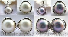DM04 Set Genuine 20mm Mabe Pearl Sterling silver crescent ring earring pendant