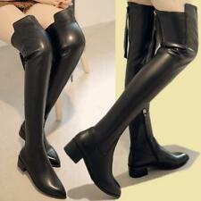60cm New Women's Thigh High Over Knee Real Leather Warm Flat Riding Boots New DD