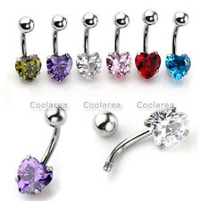 Shiny Heart Crystal CZ 14G Steel Barbell Belly Button Ring Body Jewelry Piercing