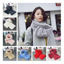 Women Genuine Winter Rabbit fur Flush Scarf Stole Collar Cape Wrap Scarves Shawl