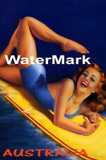 SURF AUSTRALIA BEACH GIRL WATER BOARD SURFING TRAVEL FUN VINTAGE POSTER REPRO