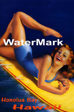 SURF HONOLUA BAY HAWAII BEACH GIRL WATER BOARD SURFING FUN VINTAGE POSTER REPRO