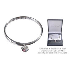 Silver EQUILIBRIUM Inspirational Mother Mum Bangle Bracelet With Heart Charm
