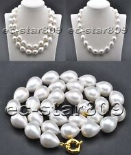 D0302 18mm White Teardrop SOUTH SEA SHELL PEARL NECKLACE