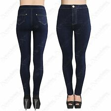 LADIES HIGH WAISTED INDIGO BLUE TUBE JEANS WOMENS STRETCH DENIM SKINNY FIT DISCO
