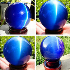 Beautiful ASIAN QUARTZ BLUE CAT EYE CRYSTAL HEALING BALL SPHERE 40-100MM
