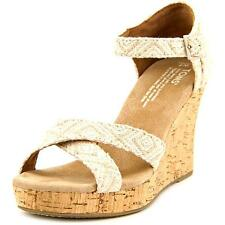 Toms Strappy Wedge Women  Open Toe Canvas Tan Wedge Sandal NWOB