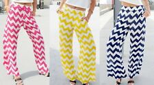Navy Fuchsia or Yellow/White Chevron Wide Leg Long Pants/Palazzo
