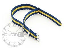 Wrist watch band - Nylon Military - blue yellow Striped 24mm 22mm 20mm 18mm