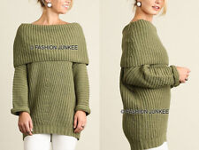 OLIVE GREEN FOLDOVER SWEATER Top Chunky Knit Off the Shoulder Boat Neck S M L