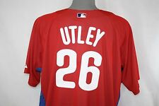 NEW Mens MAJESTIC Cool Base Red Philadelphia PHILLIES #26 UTLEY Baseball Jersey
