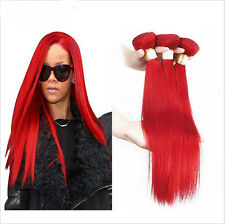 2 Bundles 100% Brazilian Straight Remy Human Hair Weave Extensions Red Hair 50g