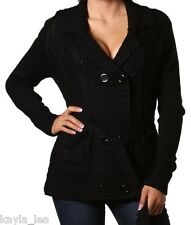 Black Long Sleeve Double Button Front Sweater/Cardigan