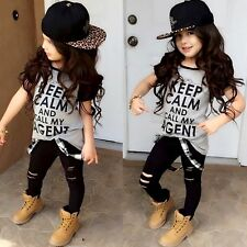 Child Kids Girls Casual Black T-shirts Hip-Hop Pants Loose Clothes Outfits Set