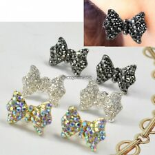 Women Lovely Cute Rhinestone Crystal Bowknot Bow Tie Earrings Ear Studs ED