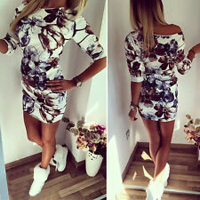 Womens Sexy Off Shoulder Casual Boho Retro Floral Bodycon Party Beach Mini Dress