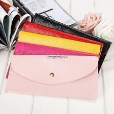 New Women Candy Color Envelope Clutch Bag Thin Wallet Purse Card Holde ED