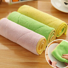 Hot Kitchen Dish Cloths Microfiber Double-sided Wash Towel Cleaning Cloths 10X6""