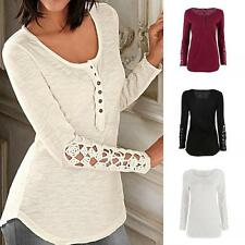 Women's Sexy Long Sleeve Shirt Casual Lace Blouse Loose Cotton Top T Shirt Tee