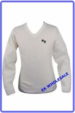 Bowls Lawn Bowling V-Neck White Jumper with Logo Sizes SMALL - 5X-LARGE