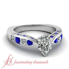 1.55 Ct Pear Shaped Diamond & Blue Sapphire Channel Set 14K Gold Engagement Ring