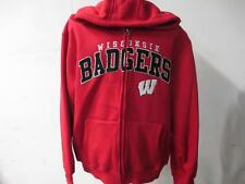 Wisconsin Badgers Mens L & XL Faux Lined Sherpa Hooded Sweatshirt Jacket WIS 14