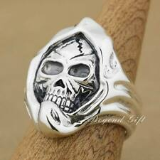 Huge & Heavy 925 Sterling Silver Mummy Skull Mens Rocker Ring 9Q003A US 8~15