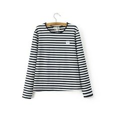 New Womens Ladies Navy Striped Long Sleeve Crewneck Pullover Blouse Tops Shirt