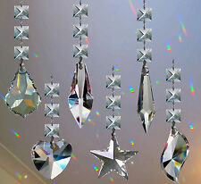 Hanging Crystal Suncatcher Feng Shui Rainbow Prism Drop +14mm square Crystals