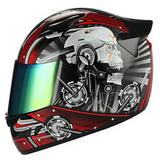 NEW 1STORM DOT MOTORCYCLE STREET BIKE FULL FACE HELMET MECHANIC WHITE SKULL RED