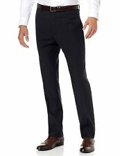 ALFANI Red Label Slim Fit Navy Blue Striped Flat Front Dress Pants $125